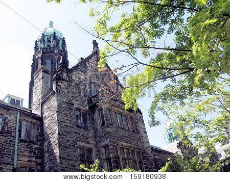 Main tower of Trinity College at University of Toronto in Toronto Ontario Canada