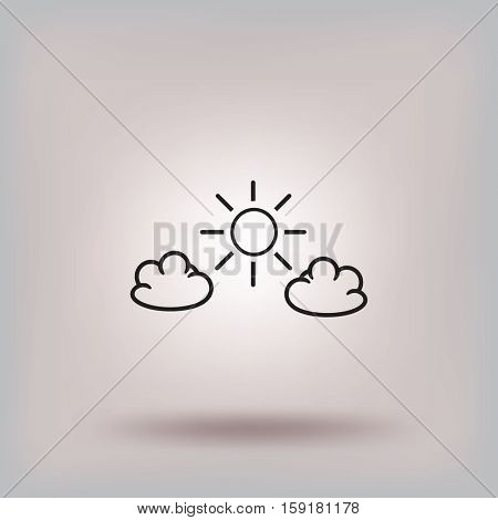 Flat icon. Sun and clouds.