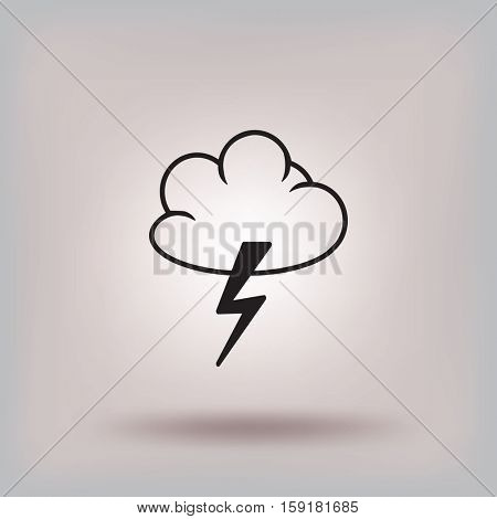 Flat icon. Cloud and Lightning. Storm.