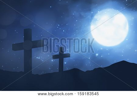 Christian Cross With Moon Background