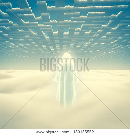 Figure in shining cloak stands on a field of clouds.   3D Render
