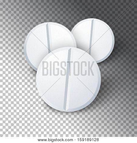 Illustration of Set of Photorealistic Medicine Pill. Pharmacy Advertizing, Vector Pill Template