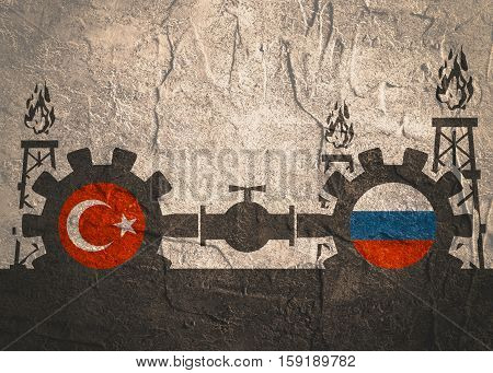 Image relative to gas transit from Russia to Turkey. Gears connected by gas pipe. National flags on cog wheels. Concrete textured