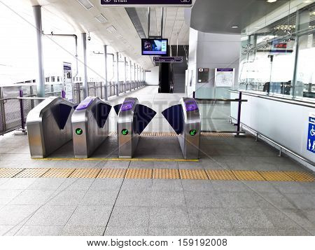 NONTHABURI THAILAND - OCTOBER 1 : Ticket counter and gate of Mass Rapid Transit Authority of Thailand (MRTA) or MRT Purple Line for people use on October 1 2016 in Nonthaburi Thailand