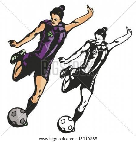 Weibliche Fußball-Nationalspieler. Vektor-illustration