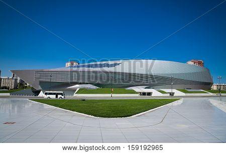 BAKU, AZERBEIJAN-OCT 4, 2016: Congress Center building in Baku on Oct 4, 2016 , Azerbaijan. Construction of the centre, which is located near Heydar Aliyev Centre, started in February, 2014.