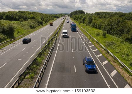 OXFORDSHIRE ENGLAND UK - July 11 2016: Traffic on the A34 dual lane highway in Oxfordshire England UK.