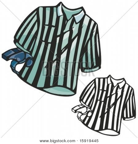 Soccer referee shirt and a whistle. Vector illustration
