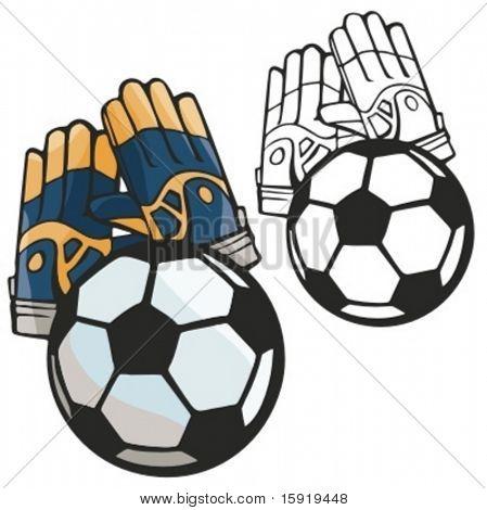 Fußball Tor Torwart Handschuhe. Vektor-illustration