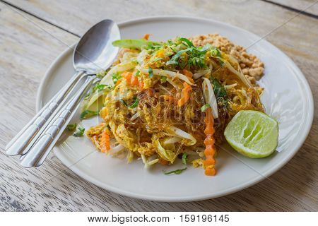 Pad Thai (glass noodle) Thailand food with made vermicelli Cellophane noodles stir-fried Thailand style