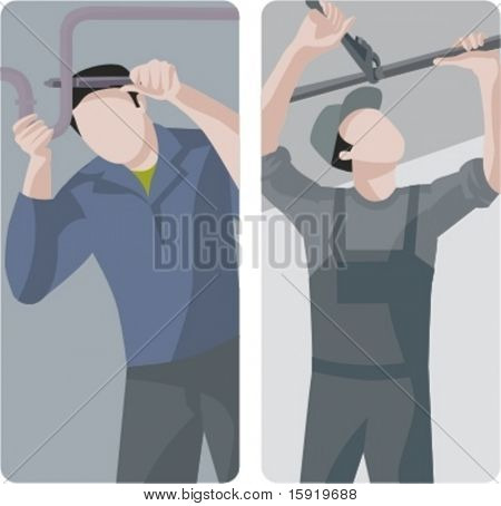 A set of 2 vector illustrations of plumbers fixing pipes.