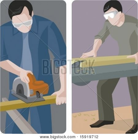 A set of 2 vector illustrations of carpenters cutting wooden planks.