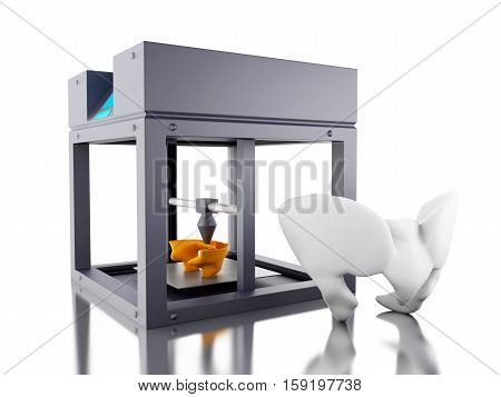 3D Illustration. Three dimensional printer prints a bone. New technology concept. Isolated white background.