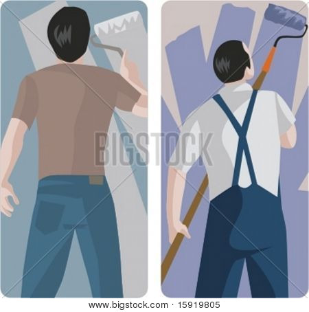 A set of 2 vector illustrations of painting workers.