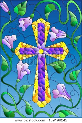 Stained glass illustration with a cross in the sky and flowers