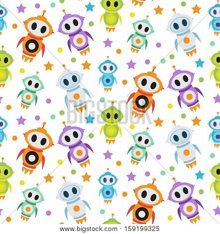 Cute kids seamless pattern robot rocket. Children endless background, texture, wallpaper. Vector illustration