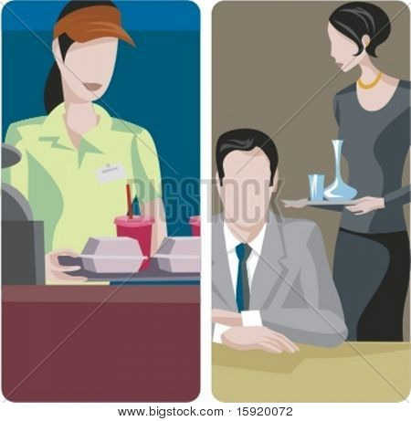 A set of 2 vector illustrations. 1) Fast food restaurant. 2) Waitress serving drinks.