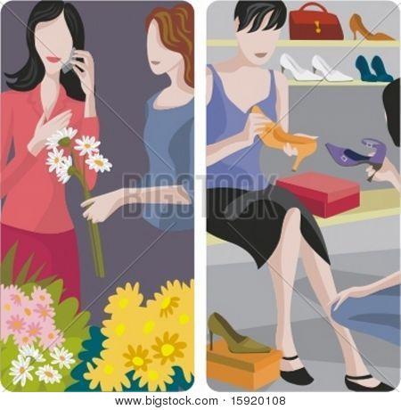 A set of 2 vector worker illustrations. 1) Flowers shop. 2) Shoes shop.