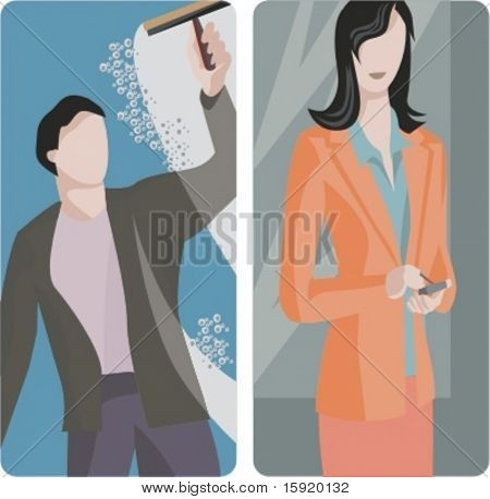 A set of 2 vector worker illustrations. 1) Man cleaning a window. 2) Businesswoman using a mobile phone.