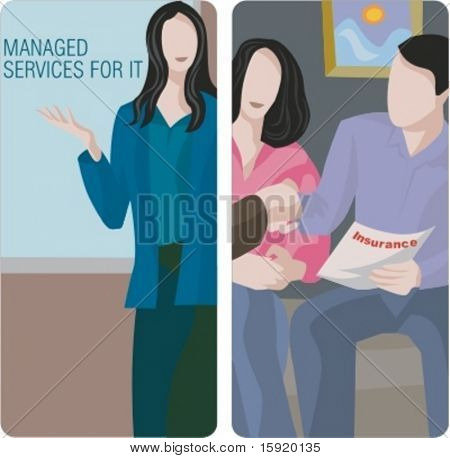 A set of 2 vector worker illustrations. 1) IT services agent. 2) Family insurance.