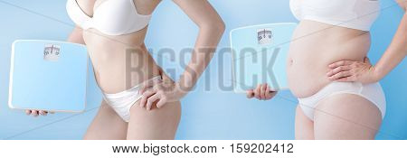 fat overweight woman and slim woman take bodyweight isolated on blue background asian