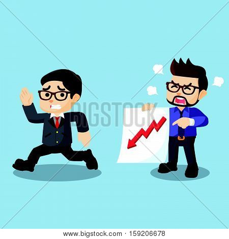 Employee angry about down graphic illustration design