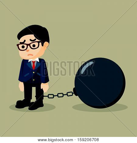 Business man chained big ball illustration design