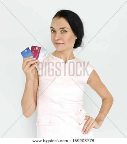 Women Adult Hold Credit Cards Concept