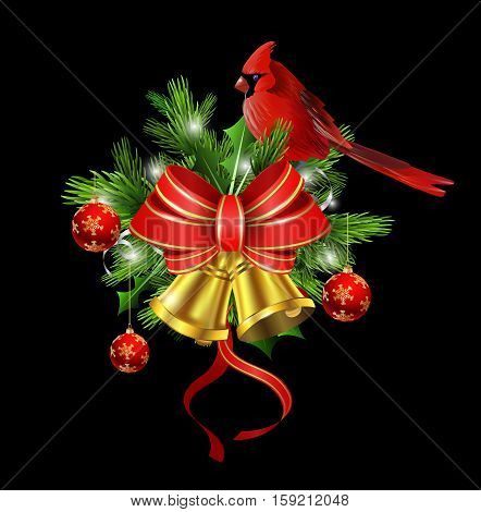 Christmas decoration with evergreen trees and golden bells with red bow and Cardinal bird