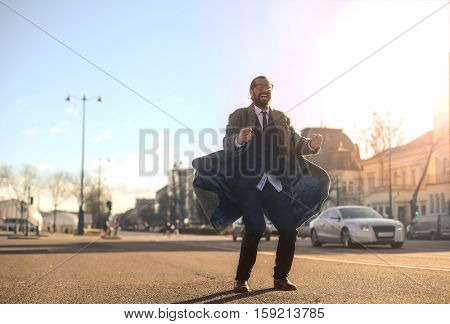 Guy in a suit outside