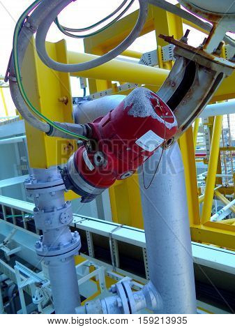 Fire or flame detector UV and IR type installed at hazard area of oil and gas platform for safety