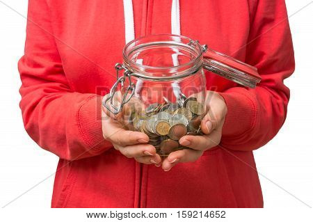 Woman In Red Sweatshirt Holding Money Jar With Coins