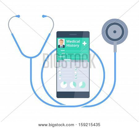 The stethoscope and smart phone with medical history on the screen. Healthy and Modern medical digital technology concept. Vector flat illustration of phonendoscope and Patient Health history info.