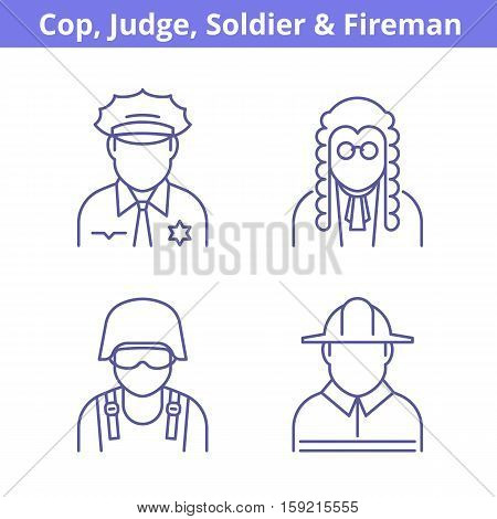 Occupations avatar set: judge policeman fireman soldier. Flat line professions userpic collection. Vector thin outline icons for profiles web design social networks and infographics.
