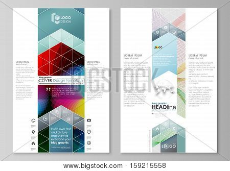 Blog graphic business templates. Page website design template, easy editable abstract flat layout, vector illustration. Colorful design with overlapping geometric shapes and waves forming abstract beautiful background.