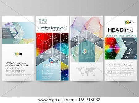 Flyers set, modern banners. Business templates. Cover design template, easy editable abstract flat layouts, vector illustration. Colorful design with overlapping geometric shapes and waves forming abstract beautiful background.