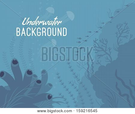 Underwater background, sea sponge, diverse underwater ecosystems, preserve natural wonder, support the ocean. Cartoon flat-style graphic template with copyspace