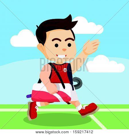 Field hockey player running after the match
