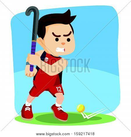 field hockey player ready to shoot illustration design