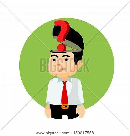 businessman question mark of head illustration design
