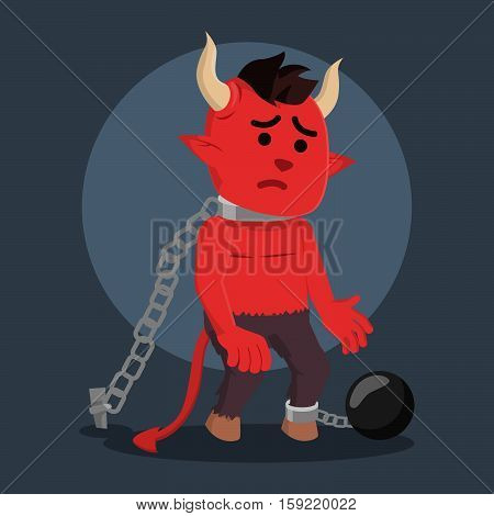 devil being chained colorful eps10 vector illustration design