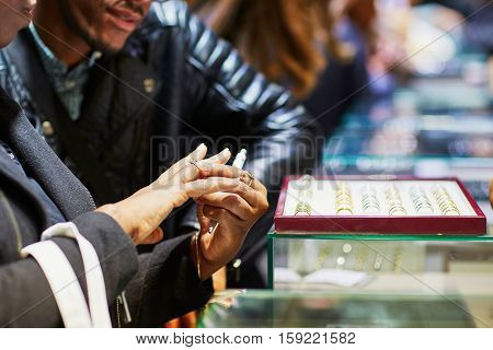 African American Couple Selecting Wedding Ring