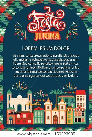 Latin American holiday, the June party of Brazil. Flat illustration with symbolism of the holiday