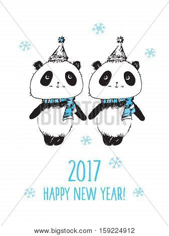 Happy New Year 2017. Merry Christmas. Greeting card with hand drawn cute pandas. Doodles, sketch. Vector.