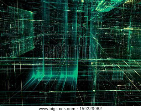 Abstract technology background -  computer-generated image. Fractal geometry: glass city street with light effects. Virtual reality or communication concept.