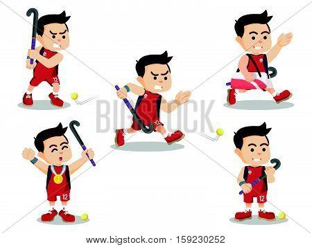 field hockey player set eps10 vector illustration design