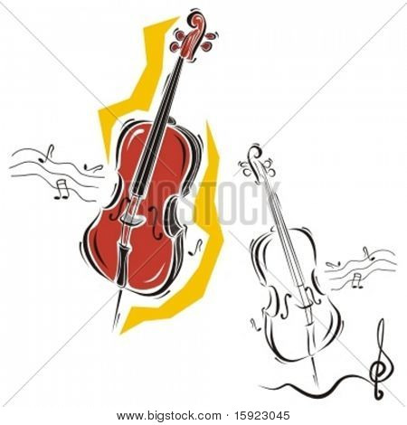 Music Instrument Series. Vector illustration of a cello.