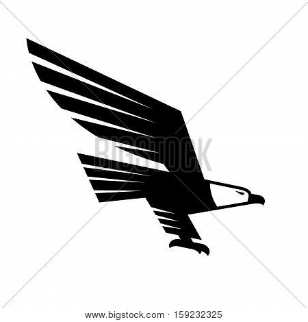 Flying Eagle isolated sign. Vector symbol of black falcon or hawk. Heraldic emblem or icon of predatory bird with spread wings and catching claws for sport team mascot, military, security or guard emblem for armory shield