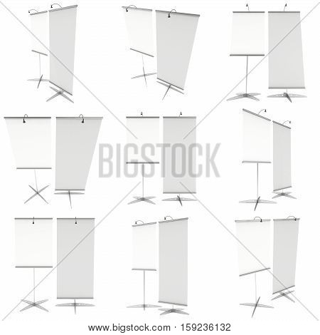 Blank Roll Up Expo Banner Stand Set. Trade show booth white and blank roll-up. 3d render illustration isolated on white background. Template mockup roll up banner for your expo design.