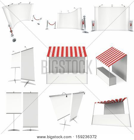 Market stand kiosk stall with striped awning for promotion sale. Shopping cart. Pop-up and roll-up stands set. 3D render illustration isolated on white.